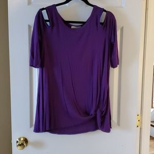 Andree purple cold shoulder gathered top